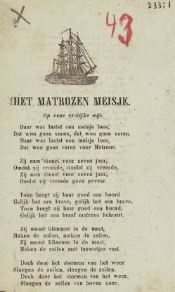 picture dutch song sheet with folk song
